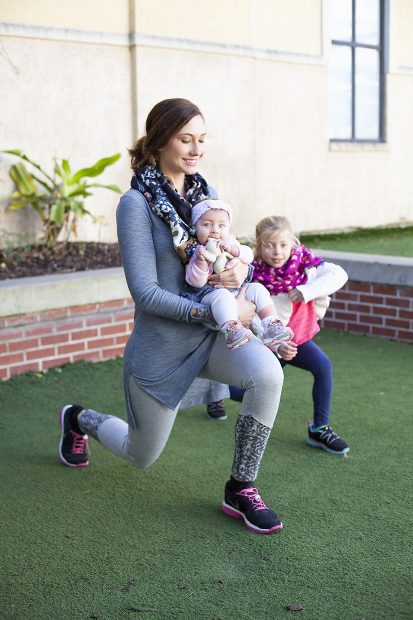 Amy West and daughters working out