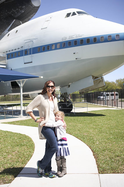 Amy West and daughter at Johnson Space Center in Houston