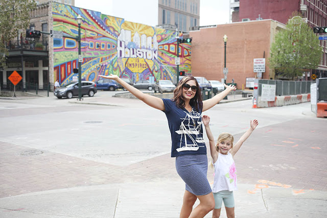 Amy West and daughter in downtown Houston