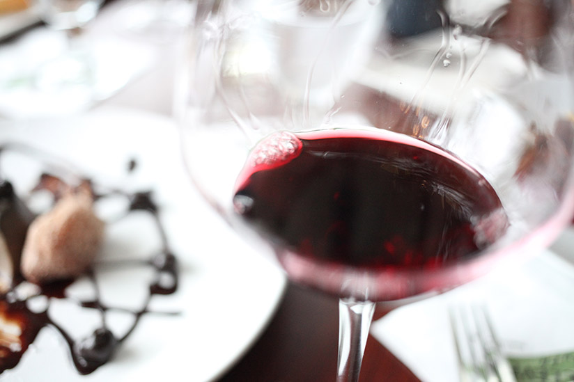 Red wine at Eleven South Bistro and Bar