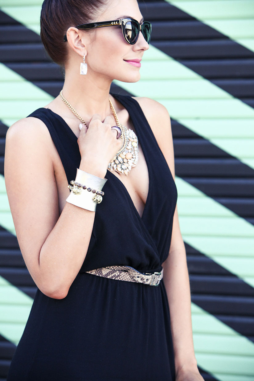Amy West mixes metals and statement necklace for a look that has plenty of bling