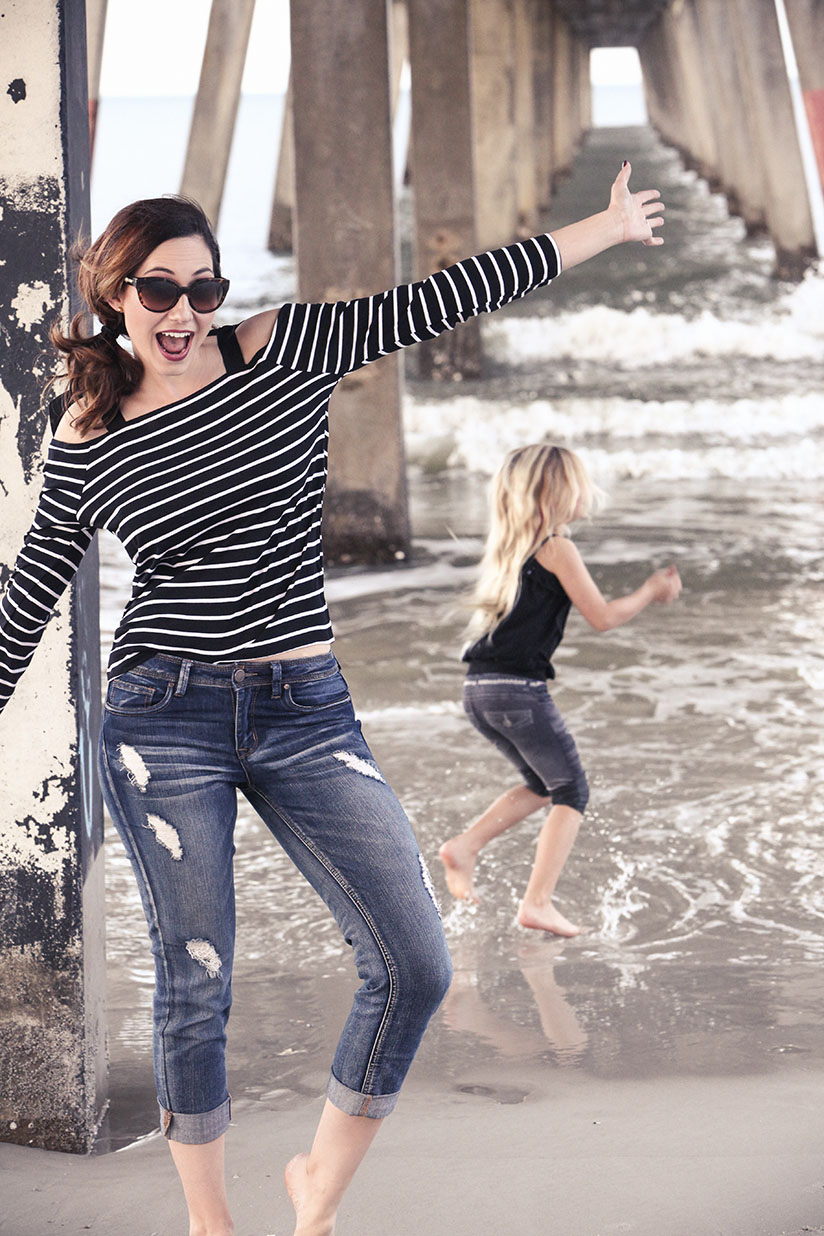 Amy West in striped top from Nordstrom