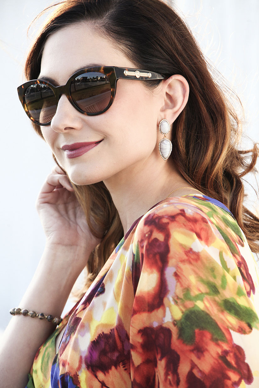Amy West in Versace sunglasses and rosy lips