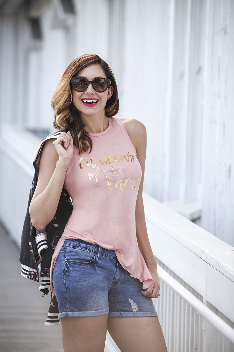 Amy West in her Citizens of the Earth Statement Sleeveless T-Shirt
